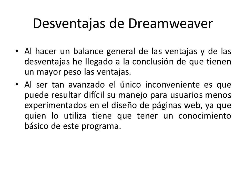 Desventajas de Dreamweaver