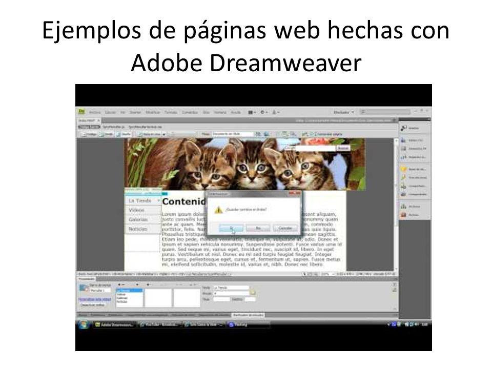 Ejemplos de páginas web hechas con Adobe Dreamweaver
