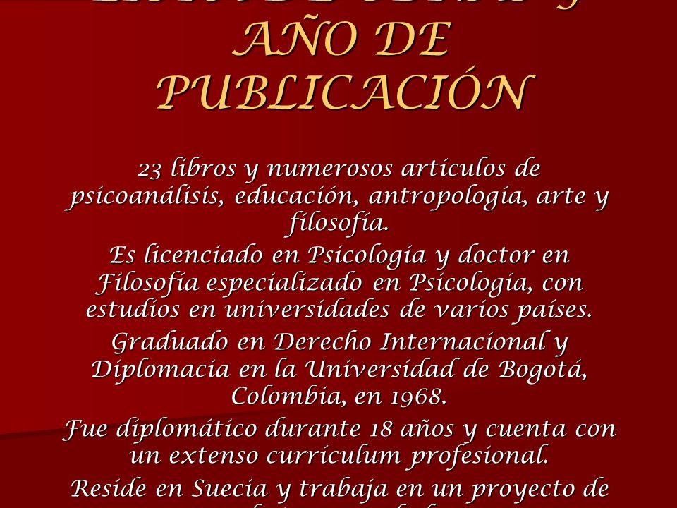 LISTA DE OBRAS Y AÑO DE PUBLICACIÓN