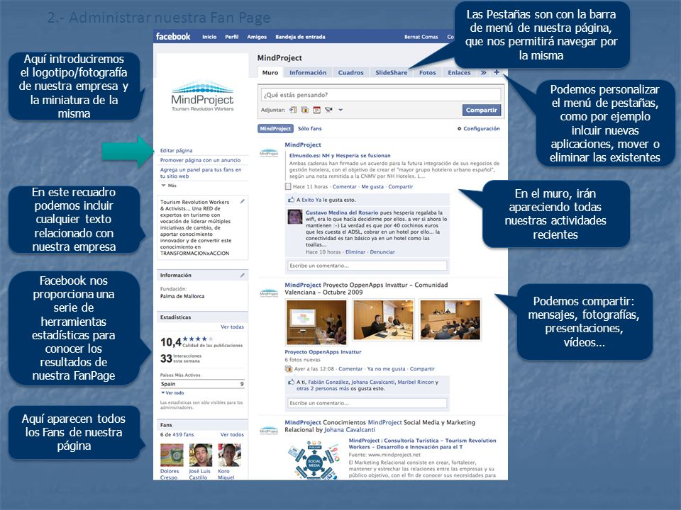 2.- Administrar nuestra Fan Page