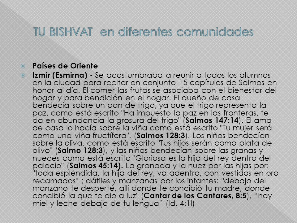 TU BISHVAT en diferentes comunidades