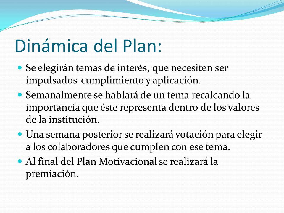 Dinámica del Plan: Se elegirán temas de interés, que necesiten ser impulsados cumplimiento y aplicación.