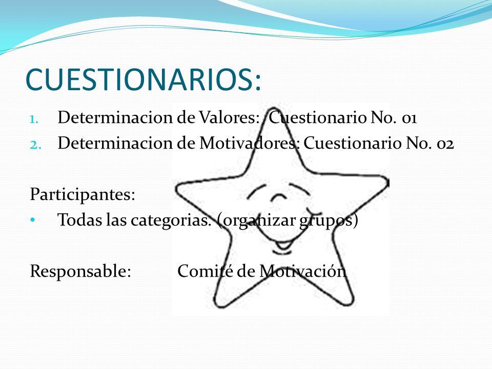 CUESTIONARIOS: Determinacion de Valores: Cuestionario No. 01