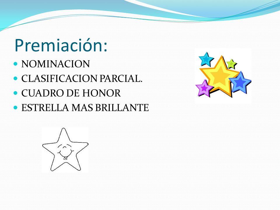 Premiación: NOMINACION CLASIFICACION PARCIAL. CUADRO DE HONOR