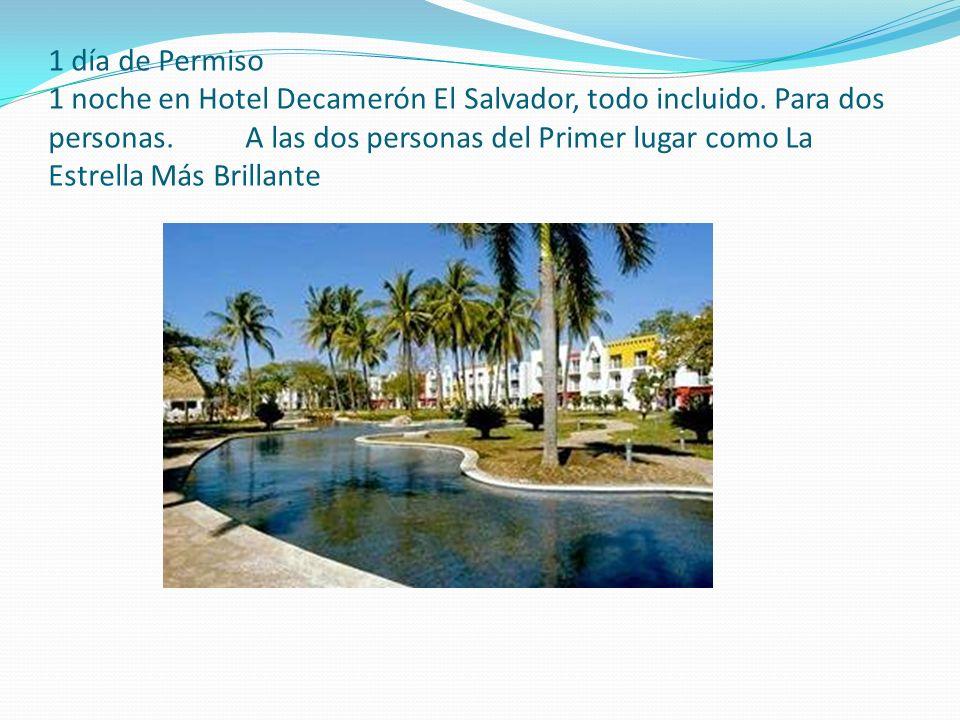 1 día de Permiso 1 noche en Hotel Decamerón El Salvador, todo incluido