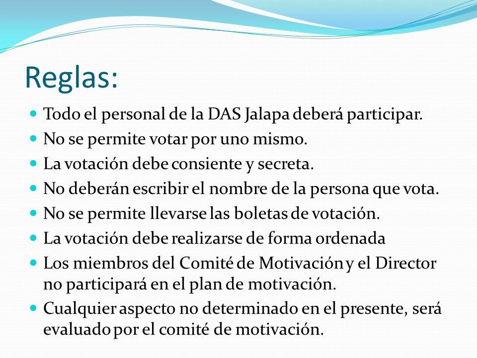 Reglas: Todo el personal de la DAS Jalapa deberá participar.