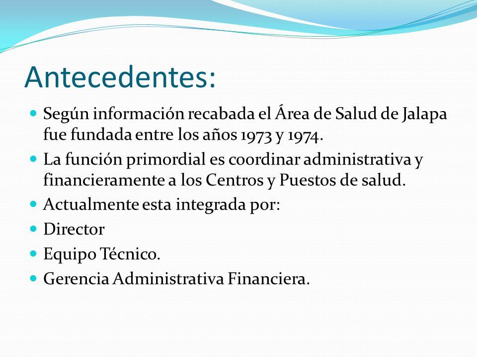 Antecedentes: Según información recabada el Área de Salud de Jalapa fue fundada entre los años 1973 y 1974.