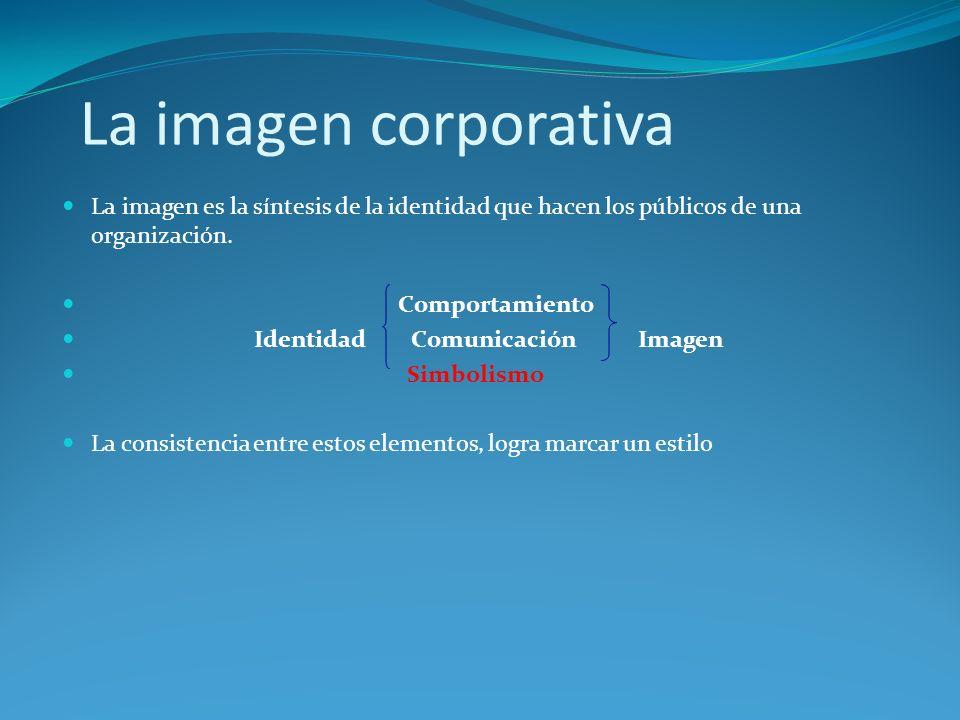 La imagen corporativa La imagen es la síntesis de la identidad que hacen los públicos de una organización.