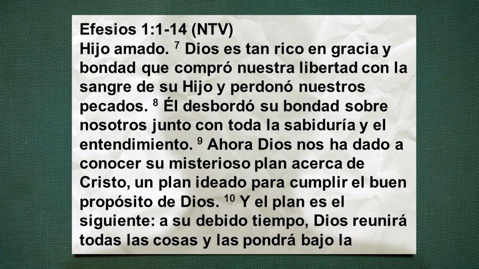 Efesios 1:1-14 (NTV) Hijo amado