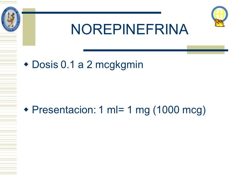 NOREPINEFRINA Dosis 0.1 a 2 mcgkgmin