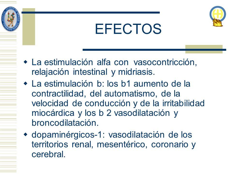 EFECTOS La estimulación alfa con vasocontricción, relajación intestinal y midriasis.