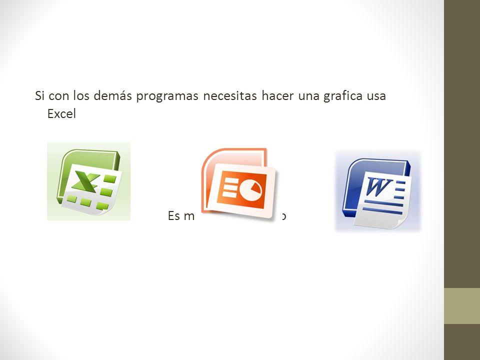 Si con los demás programas necesitas hacer una grafica usa Excel Es más fácil y rápido