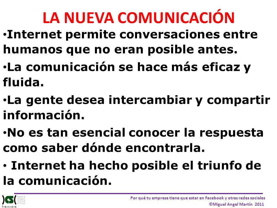 LA NUEVA COMUNICACIÓN Internet permite conversaciones entre humanos que no eran posible antes. La comunicación se hace más eficaz y fluida.