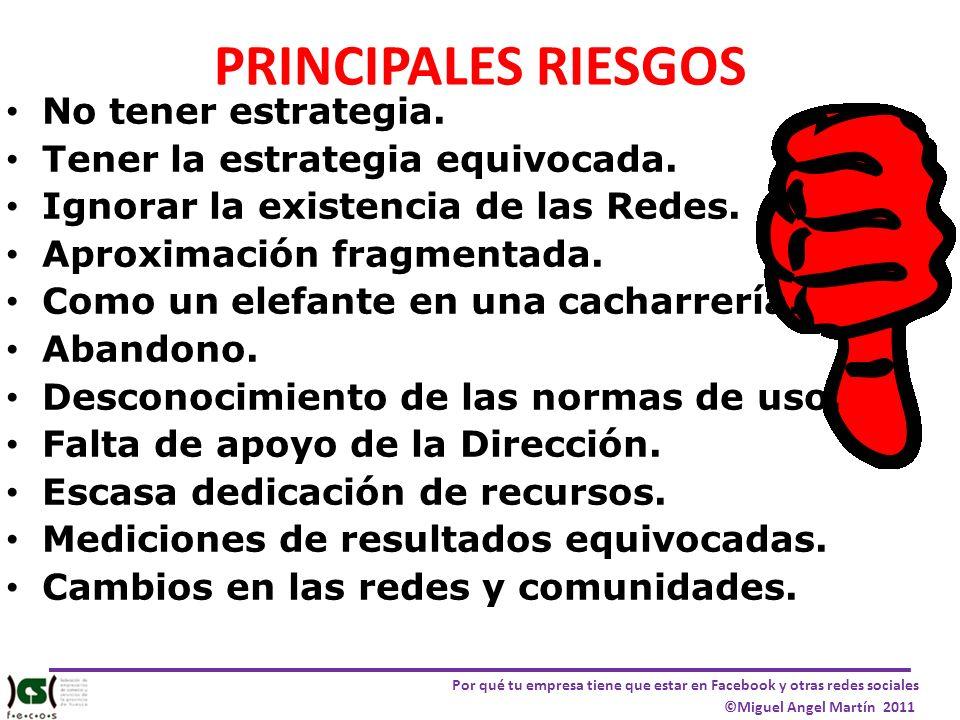 PRINCIPALES RIESGOS No tener estrategia.