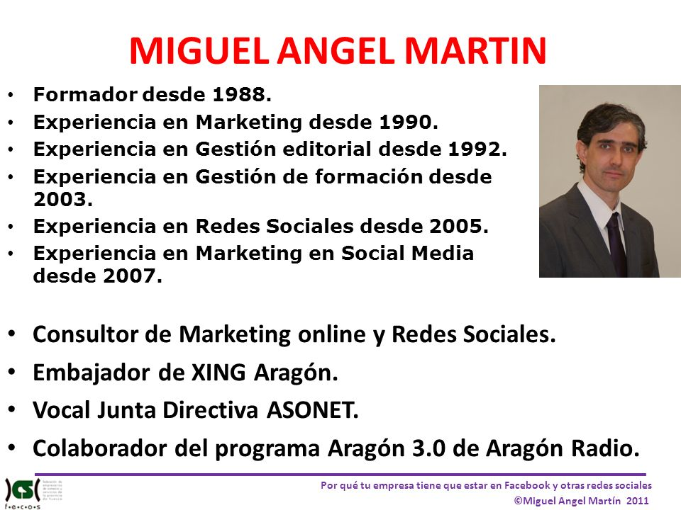 MIGUEL ANGEL MARTIN Consultor de Marketing online y Redes Sociales.
