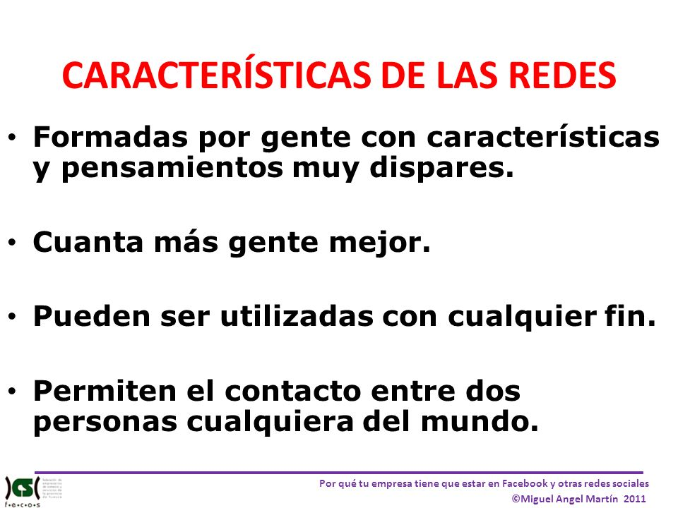 CARACTERÍSTICAS DE LAS REDES