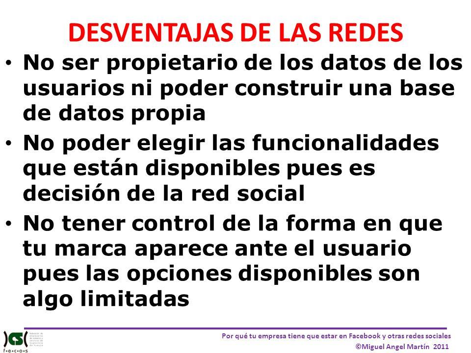 DESVENTAJAS DE LAS REDES