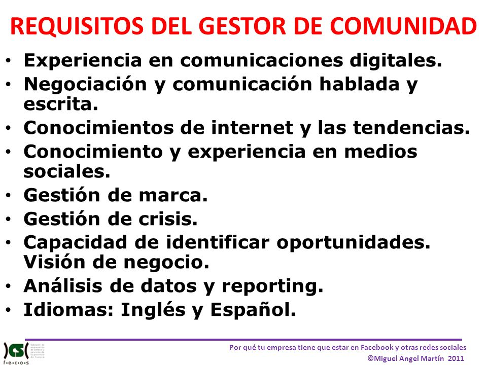 REQUISITOS DEL GESTOR DE COMUNIDAD
