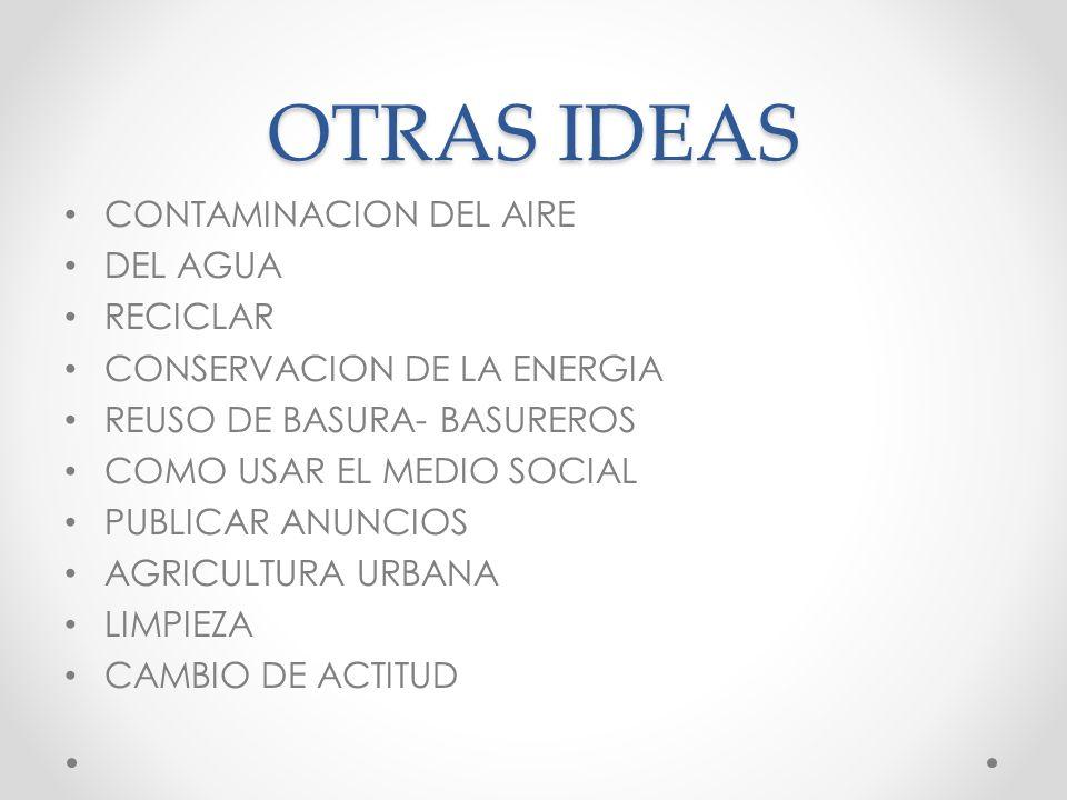 OTRAS IDEAS CONTAMINACION DEL AIRE DEL AGUA RECICLAR
