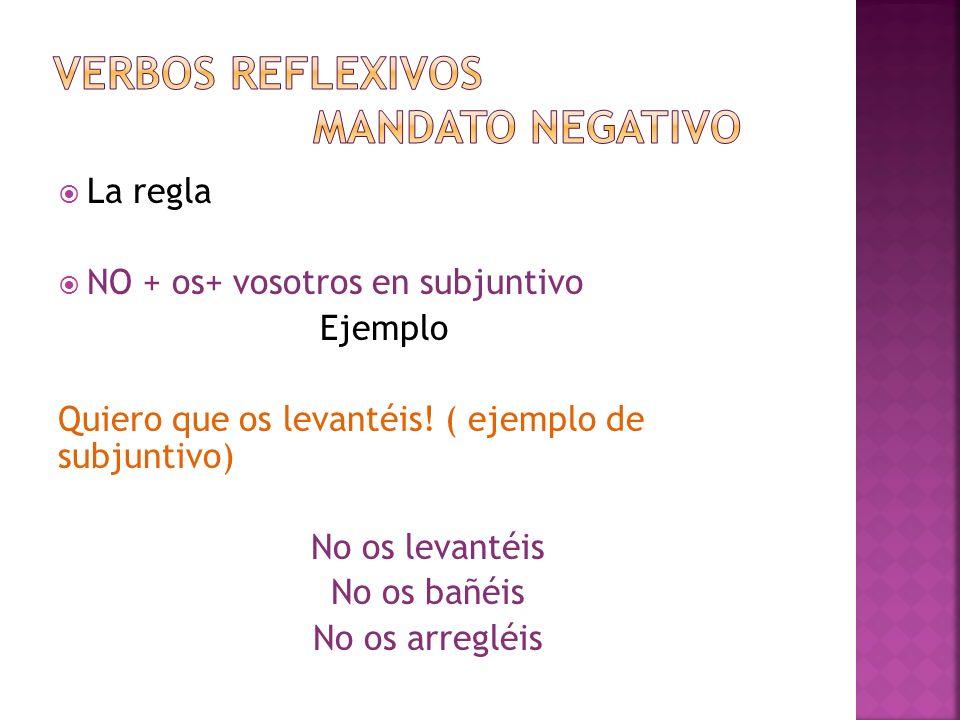 Verbos reflexivos mandato negativo