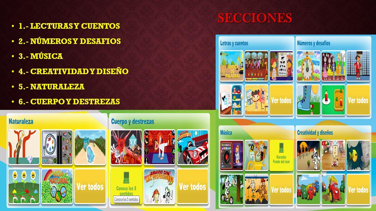 Secciones 1.- LECTURAS Y CUENTOS 2.- NÚMEROS Y DESAFIOS 3.- MÚSICA