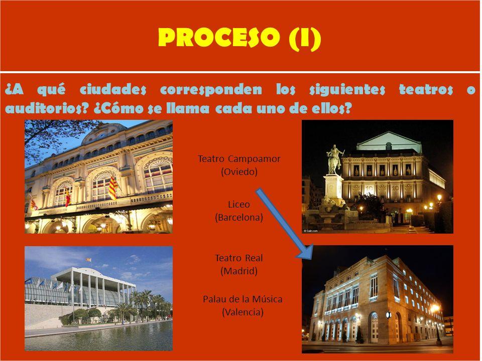 PROCESO (I) ¿A qué ciudades corresponden los siguientes teatros o auditorios ¿Cómo se llama cada uno de ellos