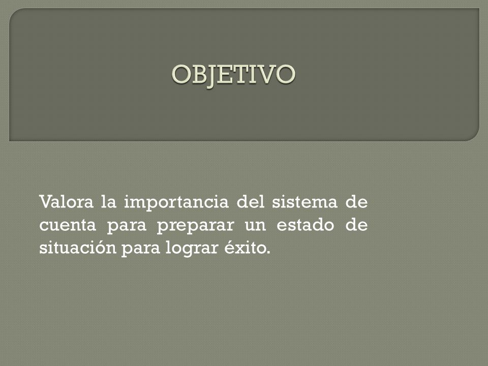 Objetivo Valora la importancia del sistema de cuenta para preparar un estado de situación para lograr éxito.