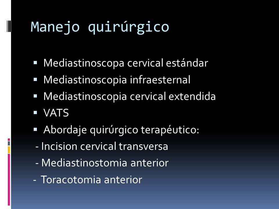 Manejo quirúrgico Mediastinoscopa cervical estándar