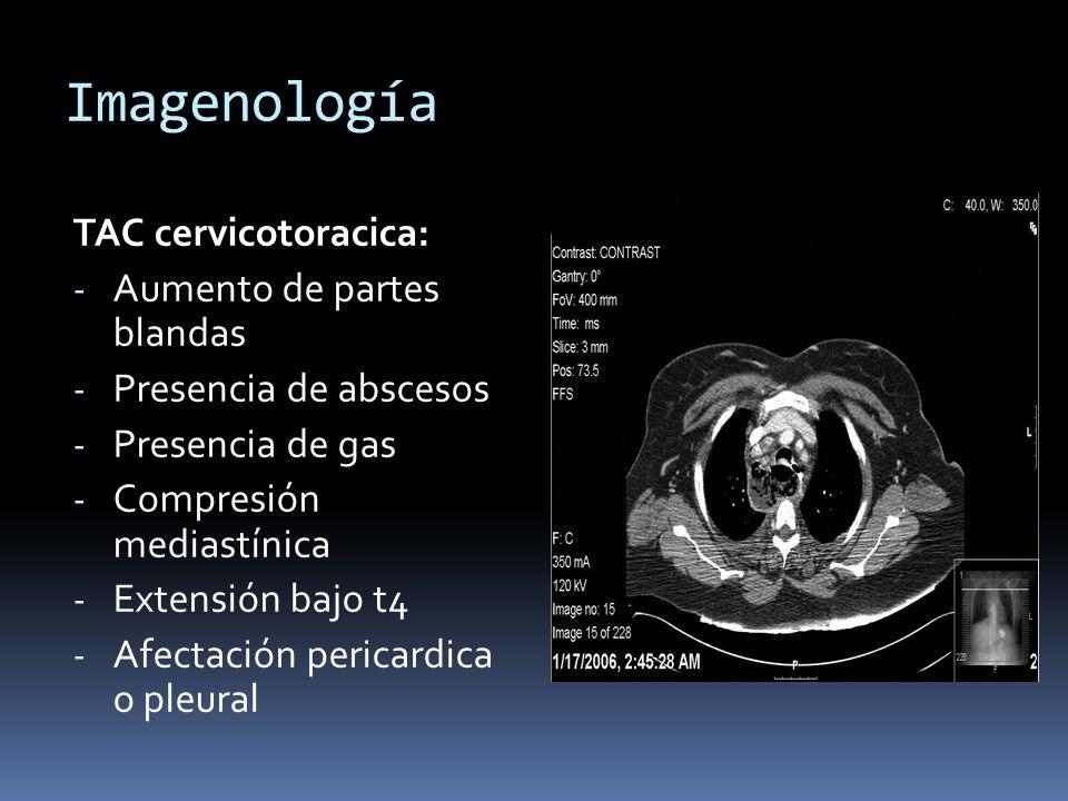 Imagenología TAC cervicotoracica: Aumento de partes blandas