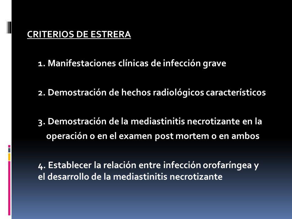 CRITERIOS DE ESTRERA 1. Manifestaciones clínicas de infección grave. 2. Demostración de hechos radiológicos característicos.