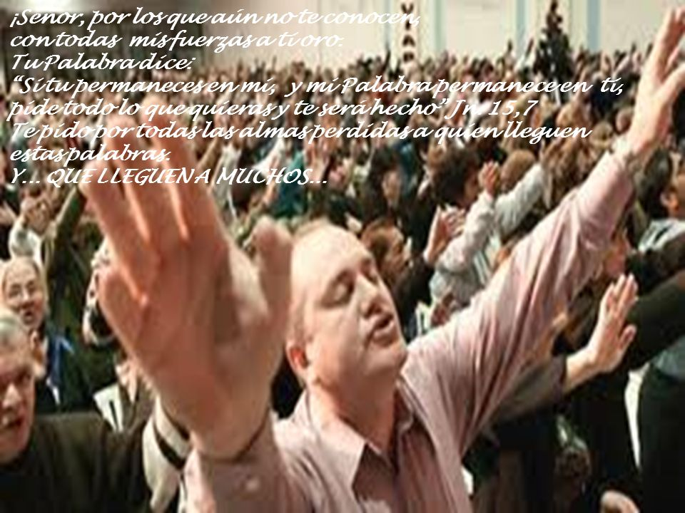¡Señor, por los que aún no te conocen, con todas mis fuerzas a ti oro