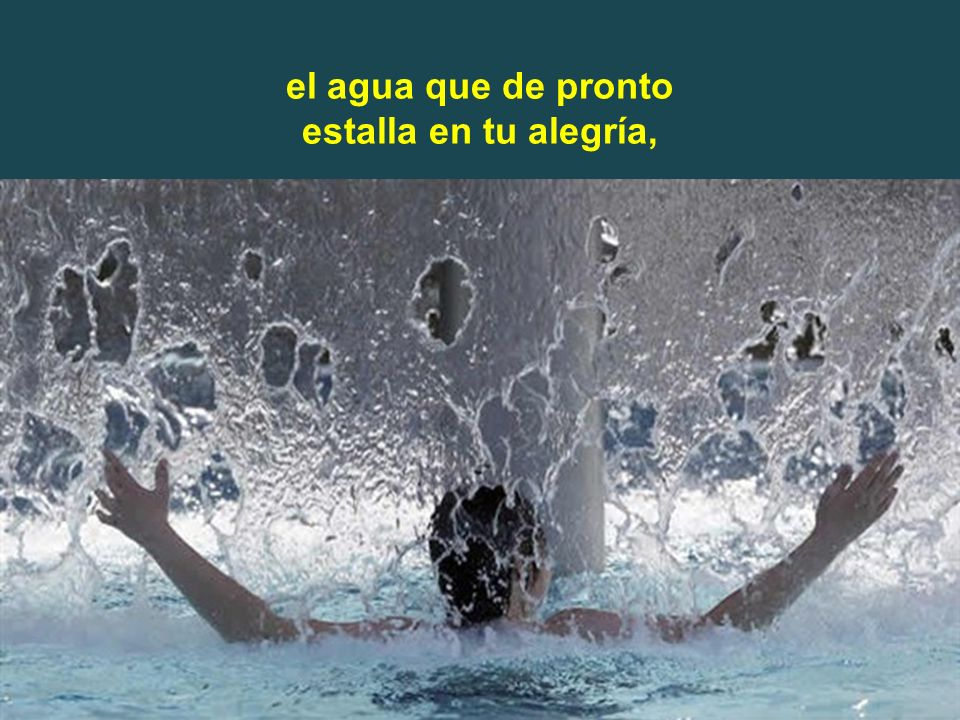 el agua que de pronto estalla en tu alegría,