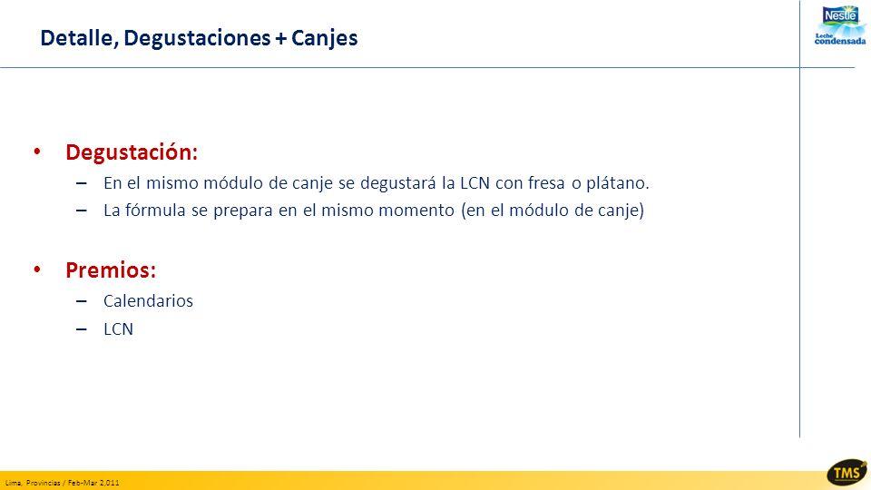 Detalle, Degustaciones + Canjes