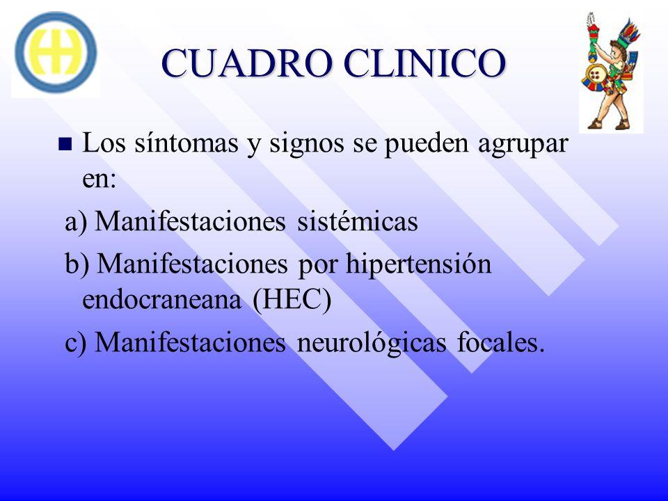 CUADRO CLINICO Los síntomas y signos se pueden agrupar en: