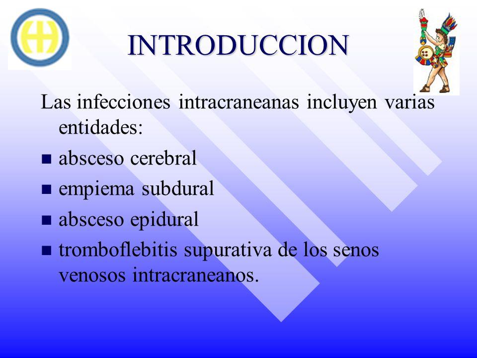 INTRODUCCION Las infecciones intracraneanas incluyen varias entidades:
