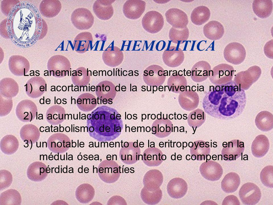 ANEMIA HEMOLITICA Las anemias hemolíticas se caracterizan por: