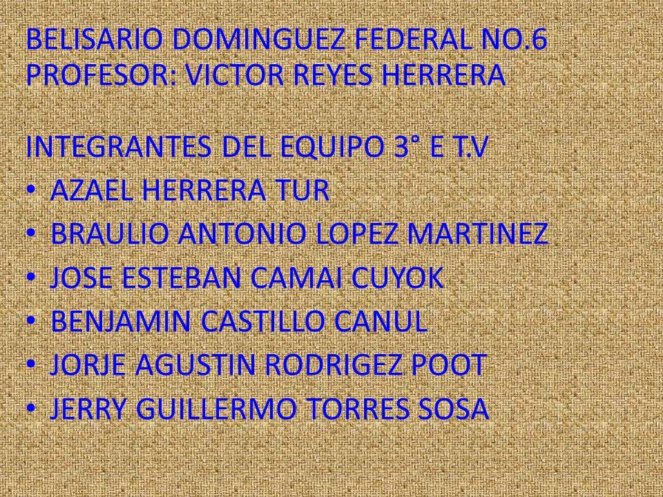 BELISARIO DOMINGUEZ FEDERAL NO.6 PROFESOR: VICTOR REYES HERRERA