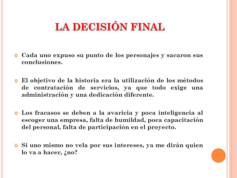 LA DECISIÓN FINAL Cada uno expuso su punto de los personajes y sacaron sus conclusiones.