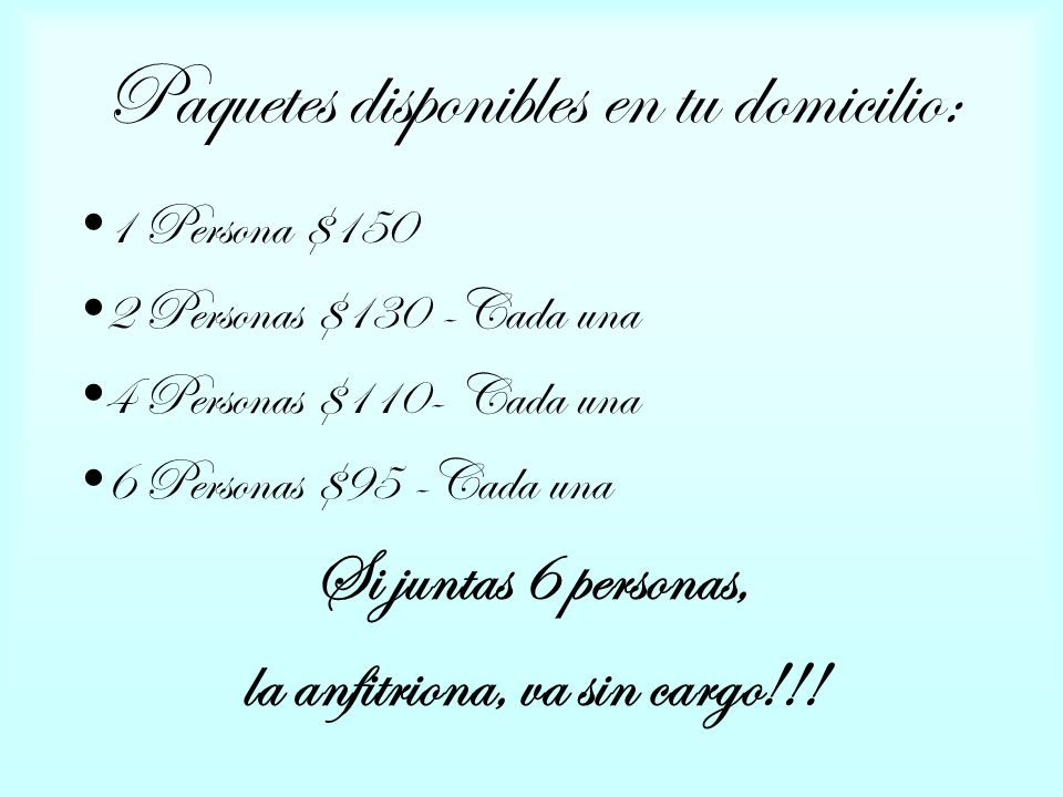 Paquetes disponibles en tu domicilio: