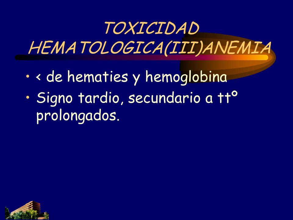 TOXICIDAD HEMATOLOGICA(III)ANEMIA
