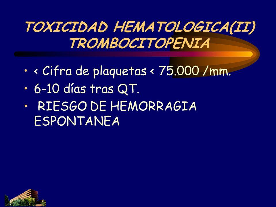 TOXICIDAD HEMATOLOGICA(II) TROMBOCITOPENIA