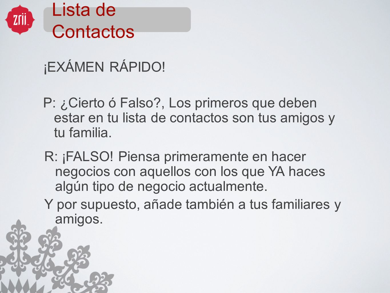 Lista de Contactos ¡EXÁMEN RÁPIDO!