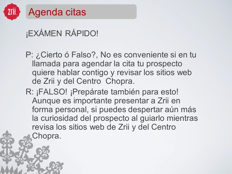Agenda citas ¡EXÁMEN RÁPIDO!