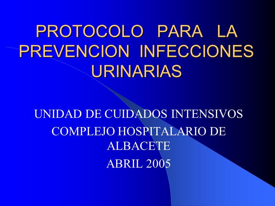 PROTOCOLO PARA LA PREVENCION INFECCIONES URINARIAS