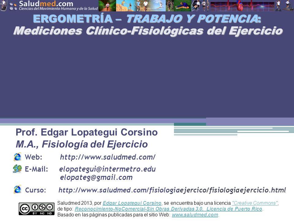 ERGOMETRÍA – TRABAJO Y POTENCIA: Mediciones Clínico-Fisiológicas del Ejercicio