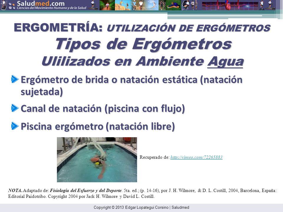 ERGOMETRÍA: UTILIZACIÓN DE ERGÓMETROS Tipos de Ergómetros Ulilizados en Ambiente Agua