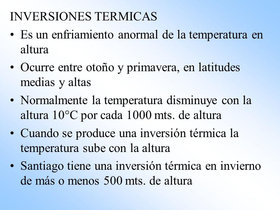INVERSIONES TERMICAS Es un enfriamiento anormal de la temperatura en altura. Ocurre entre otoño y primavera, en latitudes medias y altas.