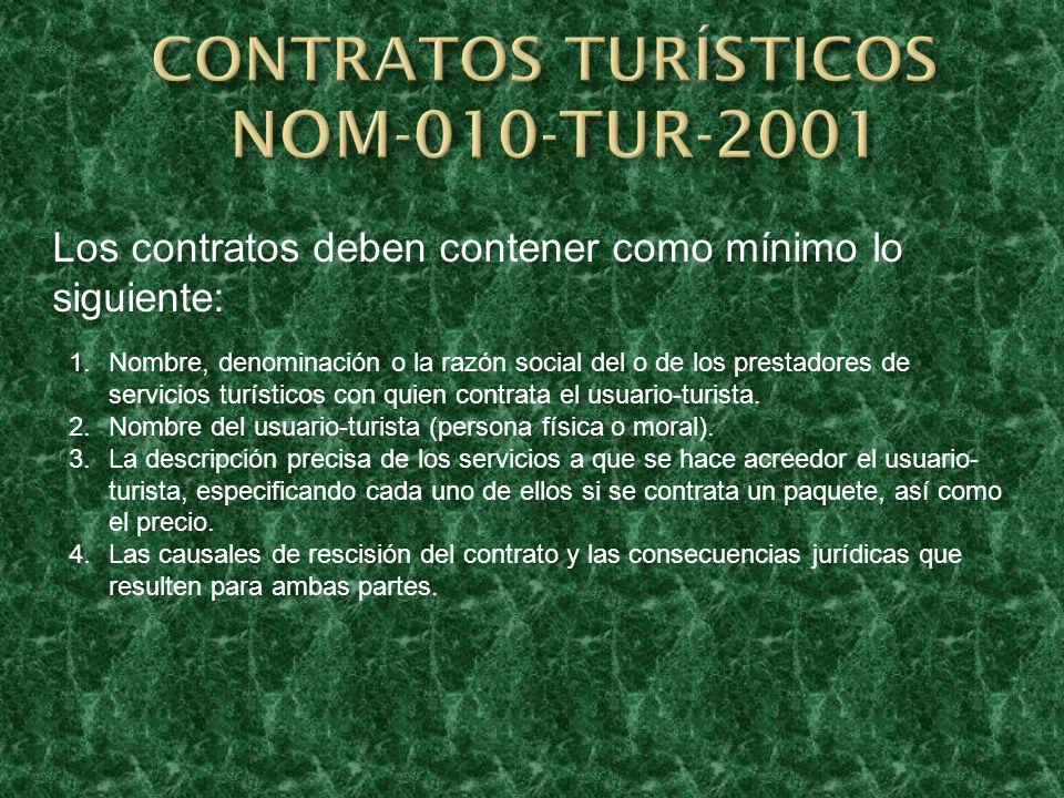 CONTRATOS TURÍSTICOS NOM-010-TUR-2001