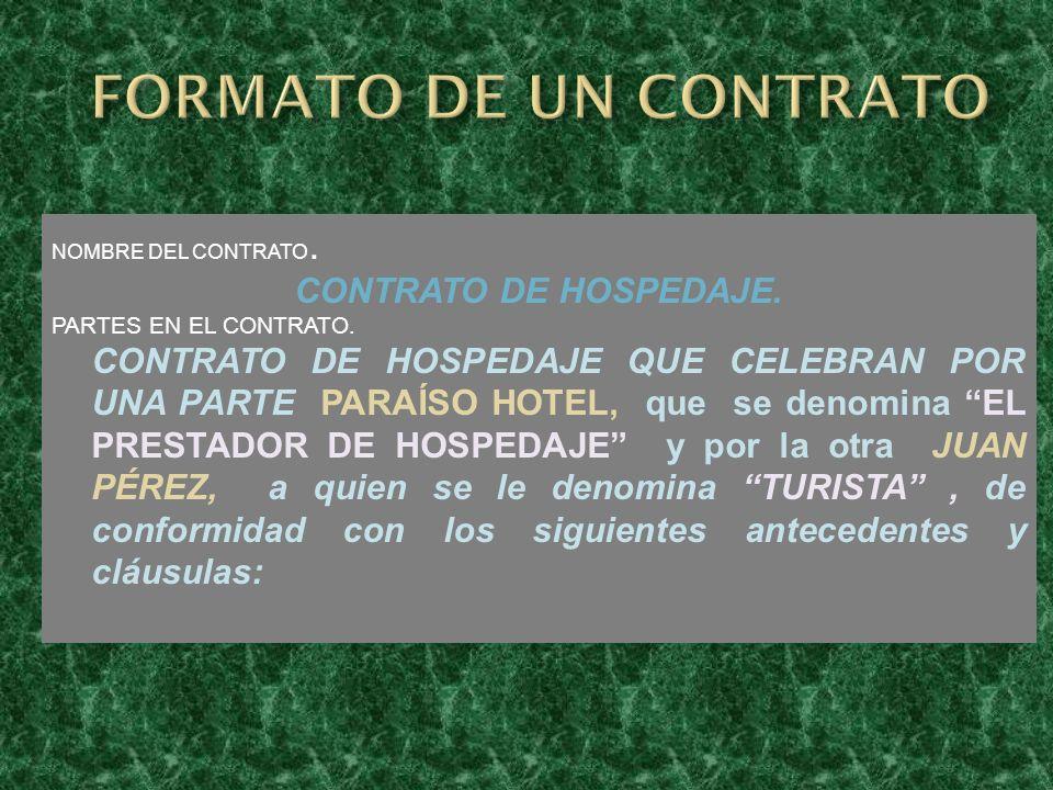 FORMATO DE UN CONTRATO CONTRATO DE HOSPEDAJE.