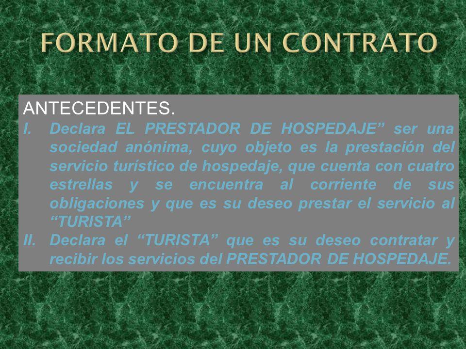 FORMATO DE UN CONTRATO ANTECEDENTES.